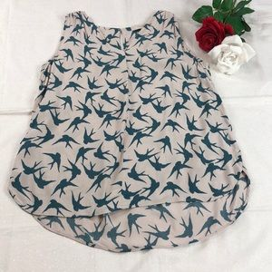LOFT Blouse with Bird Pattern NWOT S